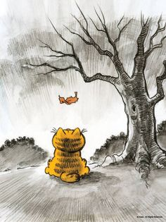Fall-ing Garfield Cartoon, Garfield And Odie, Garfield Comics, Garfield Birthday, Garfield Wallpaper, Garfield Pictures, Dark Souls Art, Soul Art, Cat Drawing