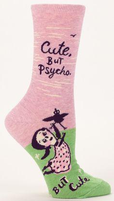 """Cute but psycho but cute"" Socks. Psycho Socks by Blue Q Socks. Silly Socks, Funny Socks, Crazy Socks, Cute Socks, My Socks, Awesome Socks, Happy Socks, Blue Q Socks, Cute But Psycho"