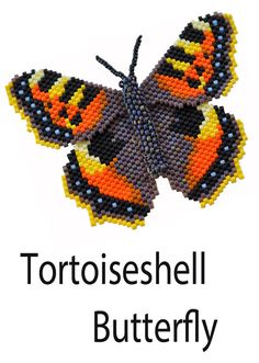 "Butterfly pattern for a Tortoiseshell Butterfly. From the book ""3-D Butterfly Patterns in Peyote Stitch"" by Sheila Root"