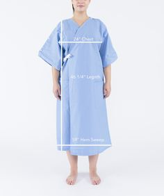 Care+Wear's Hospital Patient Gowns offer an all-in-one solution for patients, caregivers and medical teams. Gowns feature a multitude of benefits and features including clinically compatible access points, full coverage and ease of use. Nursing Clothes, Sewing Clothes, Hospital Gown Pattern, Birthing Gown, Parsons School Of Design, Medical Uniforms, Simple Dresses, Wrap Style, Dressmaking