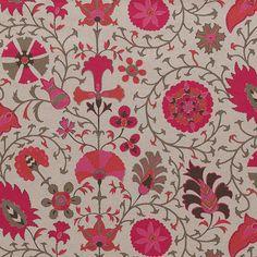 fabric or wallpaper bathroom? pink suzani linen fabric, furbish studio, pink and orange fabric Cool Patterns, Textures Patterns, Fabric Patterns, Print Patterns, Home Wallpaper, Fabric Wallpaper, Pattern Wallpaper, Suzani Fabric, Fabric Rug