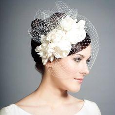 Rachel Trevor Morgan Millinery - Bridal Silk teardrop with silk taffeta roses and face veil Bridal Veils And Headpieces, Bridal Headdress, Bridal Fascinator, Wedding Fascinators, Bridal Hat, Wedding Hats, Fascinator Hats, Headpiece Wedding, Wedding Veils