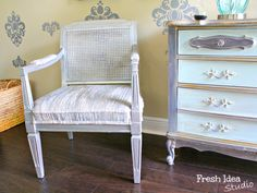 A Modern twist on a vintage chair with Modern Masters Silver and Steel Gray Metallic Paints | By Fresh Idea Studio