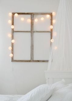 Salvaged Window Frame & Twinkle Lights