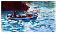 """Back with his catch by Graham Berry Watercolor ~ 12"""" x 20"""""""