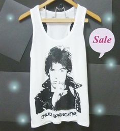 Bruce Springsteen tank top racerback tank summer tshirt S M L XL retro rock tshirt $9.98 / On Sale