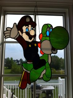 Mario and Yoshi Stain Glass via Reddit user Malebaum
