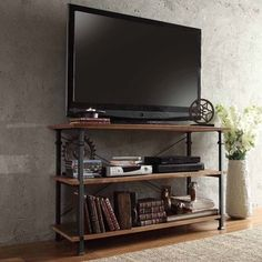 Diana White 2-shelf 2-drawer Oak TV stand - Overstock Shopping - Great Deals on Entertainment Centers