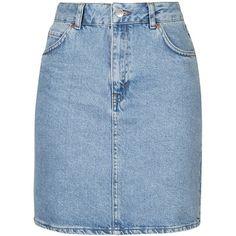 TopShop Tall High Waist Denim Mini (€33) ❤ liked on Polyvore featuring skirts, mini skirts, bottoms, topshop, bleach, short skirts, blue mini skirt, high waisted skirts, a line denim skirt and high-waist skirt