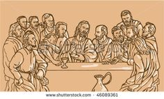 vector illustration of the last supper of Jesus Christ the savior and his disciples - stock vector #lastsupper #sketch #illustration