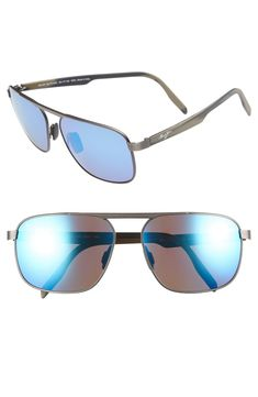 623d9a5e2b MAUI JIM WAIHE E RIDGE 60MM POLARIZED SUNGLASSES - BRUSHED DARK GUNMETAL   BLUE.  mauijim