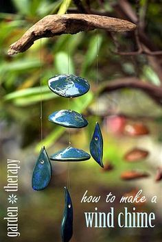 How to Make a Wind Chime — Organic clay shapes strung up on branches make for beautiful art that brings melody and movement to the garden.