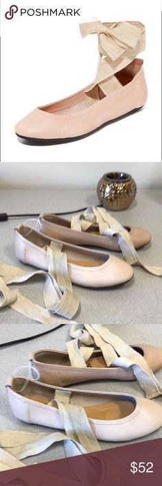 NWOT Free People Lace Up Ballerina New never worn Free People baller flats in pink color with canvas that wraps up the leg. It is a size 37 or 7 American with round toe and long canvas cords. Free People Shoes Flats & Loafers