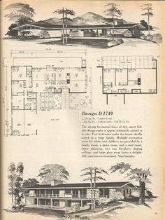 Vintage House Plans, Mid Century Homes Design D 1749 Vintage House Plans, Modern House Plans, House Floor Plans, Vintage Homes, The Plan, How To Plan, Architectural House Plans, Architectural Drawings, Mcm House