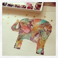 "55 mentions J'aime, 3 commentaires - Wyanne Thompson (@wyanne) sur Instagram : ""Working on a little elephant watercolor painting."""