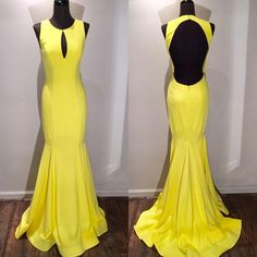 Yellow Evening Dresses Long Sweep Train Prom Dress Cheap Jewel Collar Backless Simple High Fashion Cheap Celebrity Gowns Formal Party Gown Evening Gown Dresses Evening Maternity Dresses From Yoyobridal, $102.36| Dhgate.Com