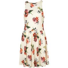 Rosey Posey Georgia Dress ($20) ❤ liked on Polyvore featuring dresses, topshop, vestidos, white swing skirt, white floral dress, swing skirts, flower printed dress and jersey dresses