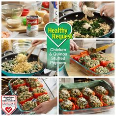 Chicken & Quinoa Stuffed Peppers — These delicious cheese-topped stuffed red peppers get flavor, texture, and fiber goodness from a tasty combination of quinoa, spinach, and creamy mushroom soup. Heart-Check Certification does not apply to recipes or information reached through links unless expressly stated.