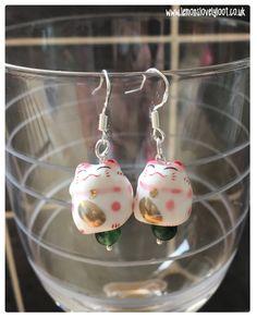 Maneki Neko Earrings, Lucky Cat Earrings, Beckoning Cat Charms, Fortune Cat Earrings, Asian Cat Earrings. by LemonsLovelyLoot on Etsy