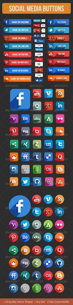 Social media buttons with shadow. It's a very interesting set of butons.