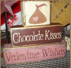 CHOCOLATE KISSES VALENTINE wishes primitive by Heresyoursignprim, $19.99