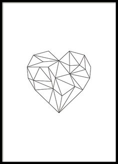 Stylish print of a black heart in geometrical shape that fits nicely with any…