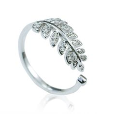 Cool! Fashion Leaves Diamond Adjustable Opening Silver Ring just $16.99 from ByGoods.com! I can't wait to get it!