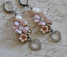 Sweethearts  assemblage pink flower freshwater by  crownedbygrace.etsy.com