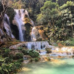 The Kuang Si Falls just south of Luang Prabang in Laos. While most pools in this three tiered waterfall are open for swimming one is permanently closed due to being considered sacred by locals. Thanks to traveller @sbelazka for this beautiful pic! #gadv