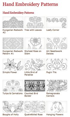 Free Hand Embroidery Patterns at the Needle'n Thread website. Lots more than shown in this picture. Page also includes links for other websites with free embroidery patterns.