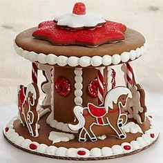 Handmade Gingerbread Carousel Cookies Delivery : This Whimsical Holiday Gift Puts A New Spin On The Classic Gingerbread House. Each Piece Of Spicy Gingerbread I Gingerbread House Designs, Gingerbread Village, Christmas Gingerbread House, Noel Christmas, Gingerbread Decorations, Gingerbread Man, Gingerbread Cookies, Xmas, Christmas Desserts
