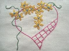 Hearts n Flowers Hand Embroidery Pattern by PDF by Stitchingalways, $5.00