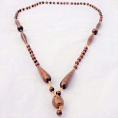 Antique c 1910 Bohemian Look Striped Brown Glass Beads Long Dropper Necklace