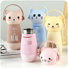 thermos kids water bottle on sale at reasonable prices, buy VILEAD Kawaii Cartoon Thermos Adorable Stainless Steel Garrafa Termica Portable Vacuum Flask Insulated Mug Children Water Bottle from mobile site on Aliexpress Now! Cute Water Bottles, Drink Bottles, Glass Water Bottle, Instagram Baddie, Thermal Flask, Thermal Bottle, Thermal Cup, Cat Drinking, Cute Cups