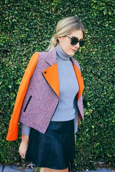 Tuesday Ten: November Style Ideas Fall for orange. Halloween may be over, but orange is still one of the best colors of fall. Add a pop of this cheery hue to your look with a color-blocked jacket.