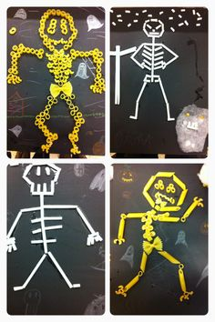 Halloween skeletten van macaroni en rietjes | basisschool knutsel | groep 6 | thema Halloween | Theme Halloween, Halloween Celebration, Holidays Halloween, Halloween Crafts, Holiday Crafts, Happy Halloween, Fun Crafts, Halloween Skeletten, Macaroni Crafts