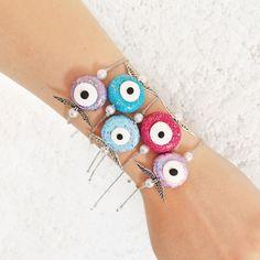 Angel Wing Bracelet, Evil Eye Bracelet, Heart Bracelet, Love Bracelets, Cuff Bracelets, Polymer Clay Charms, Polymer Clay Jewelry, Greek Jewelry, Evil Eye Jewelry