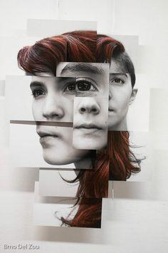 Photosculptures - Portrait Sculpture Photo Series by Brno Del Zou Distortion Photography, Photography Collage, Abstract Photography, Photography Projects, Portrait Photography, Portraits Cubistes, Cubist Portraits, Face Collage, Collage Art
