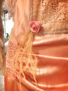 Couture details; smocked silk satin and hand tinted silk tulle roses by Joanne Fleming Design