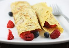 Coconut crepes with fruit