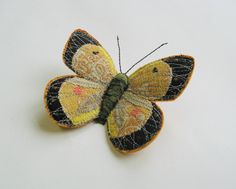 Clouded Yellow butterfly brooch by Agnes & Cora.