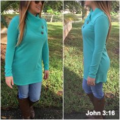 Last largeLight knit tops Buttoned neck solid mint tops - lightweight and ready for spring. Large (10/12) Tops