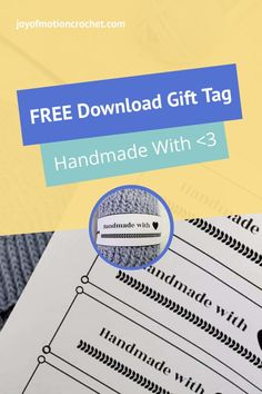 Free printable landscape tag for crochet. Free printable gift tag, quick download. Handmade with love gift tag wrap around. Easy to wrap around gift tag for handmade beanies and knitted gifts. #crochet #knit #gifttag Knitted Gifts, Crochet Gifts, Free Crochet, Free Printable Gift Tags, Free Printables, Crochet Tutorials, Crochet Patterns, Craft Stash, Handmade Tags
