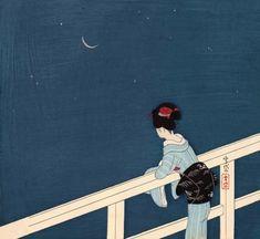 Komura Settai (1887-1940) 小村雪岱 Girl Watching the Stars and Waning Moon, 1935