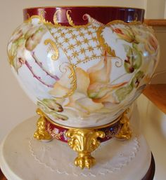 Gorgeous Limoges France Most Ornate Jardiniere with Paw Footed Base~ from theverybest on Ruby Lane