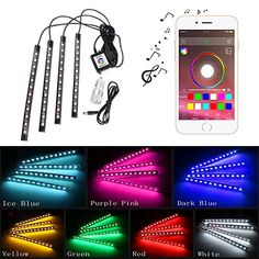 TBTeek 4-Piece 7 Color 12 Car LED Interior Underdash Lighting Kit With Bluetooth (4.0) Controller & Timing & Music Mode Strip - Waterproof Glow Neon LED Light Kit and Car Charger for Smart Phone. For product info go to:  https://www.caraccessoriesonlinemarket.com/tbteek-4-piece-7-color-12-car-led-interior-underdash-lighting-kit-with-bluetooth-4-0-controller-timing-music-mode-strip-waterproof-glow-neon-led-light-kit-and-car-charger-for-smart-pho/