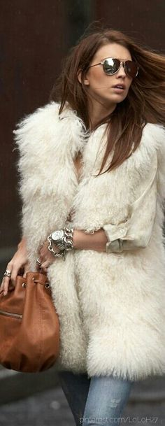 Michael Kors mongolian fur vest- Need a faux fur jacket like this in my life Fur Fashion, Look Fashion, Runway Fashion, Womens Fashion, Street Fashion, Style Work, Mode Style, Style Me, Mode Outfits