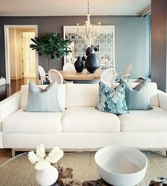 Living Room design ideas and photos to inspire your next home decor project or remodel. Check out Living Room photo galleries full of ideas for your home, apartment or office. Home Living Room, Living Room Designs, Living Room Decor, Living Spaces, Living Area, Bedroom Decor, White Couches, White Walls, Blue Walls