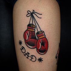 Traditional boxing gloves tattoo by Justin Wayne Boxing Gloves Tattoo, Boxing Gloves Drawing, Boxing Tattoos, Dad Tattoos, Tatoos, Globus Tattoos, Boxer Tattoo, Traditional Tattoo Old School, Tattoo Traditional
