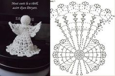 Christmas Crochet Patterns, Holiday Crochet, Crochet Snowflakes, Crochet Doilies, Crochet Hat Tutorial, Crochet Diagram, Christmas Angels, Christmas Tree Ornaments, Christmas Crafts